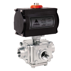 Cross-way pneumatic actuated ball valve