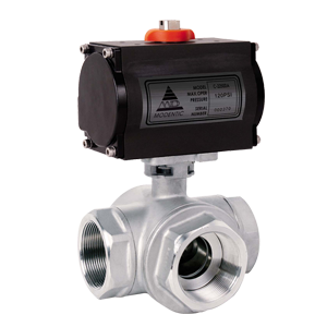 Three-way pneumatic actuated ball valve 1000PSI DA-318